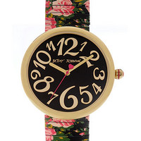 Betsey Johnson Watch, Women's Printed Rose Stainless Steel Expansion Bracelet 36mm BJ00039-05 - All Watches - Jewelry & Watches - Macy's