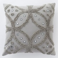 Candlewick Circle Pillow Cover - Feather Gray