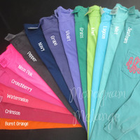 Comfort Colors Monogrammed Long Sleeve Pocket Tee Shirt Ladies