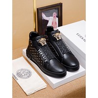 Versace  Trending Women's Black Leather Side Zip Lace-up Ankle Boots Shoes High Boots