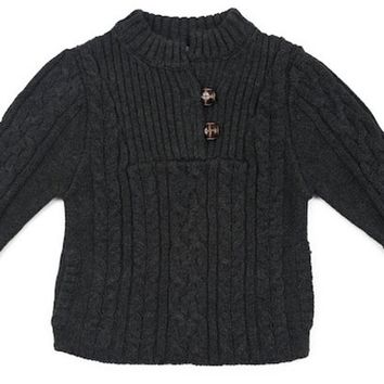 Egg Baby Charcoal Cable Knit Pull-Over Sweater 6-12 months