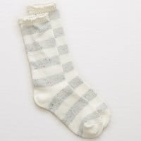 Aerie Striped Lace Crew Socks, Soft Muslin