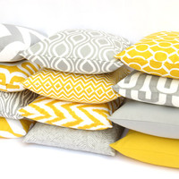 11 Sizes Available: One Grey or Yellow Mix and Match Pillow Cover 12 Fabric Options Decorative couch Throw Pillows Sofa Pillow