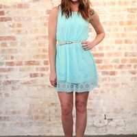 Paris in the Spring Time Dress Turquoise - Modern Vintage Boutique