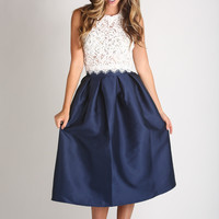 Lucille Navy Shiny Full Midi Skirt