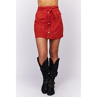 See Your Worth Faux Suede Skirt (Red)