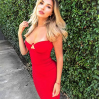 Genelle Bandage Dress - Red