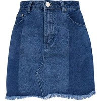 Vintage Wash Contrast Step Hem Denim Mini Skirt