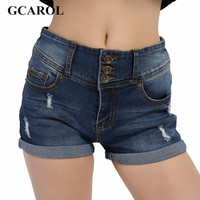 GCAROL 2017 Women Sexy Ripped Denim Shorts Ladies'Casual Mid Waist Cuff Jeans Shorts Summer Spring Autumn 32 Shorts