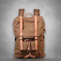New Canvas Backpack Rucksack Bag Large / travel/school/womens/ Mens unisex green brown gray grey red Genuine Leather straps