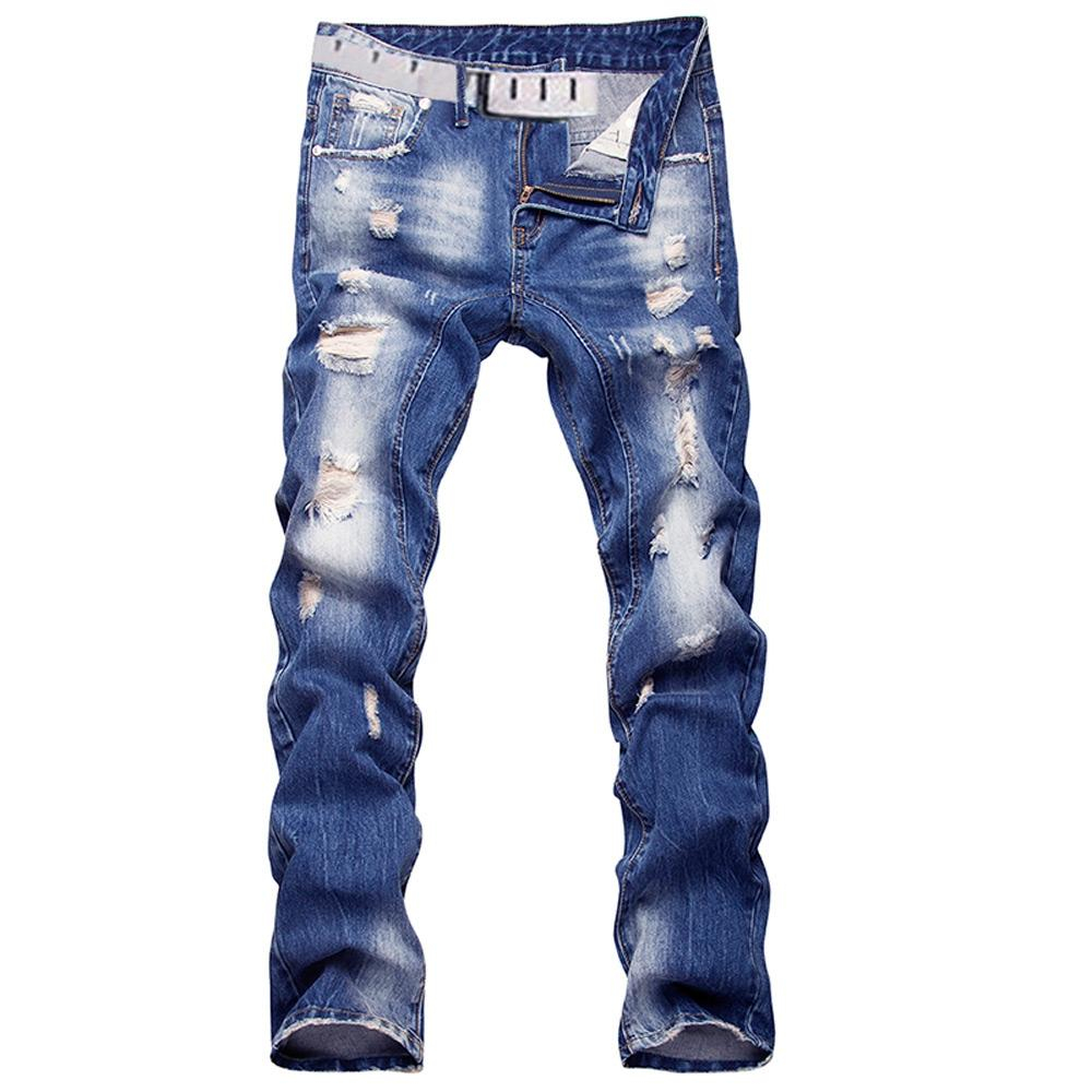 Image of Men's Casual Ripped Straight Legs Denim Pants Jeans