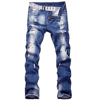 Men's Casual Ripped Straight Legs Denim Pants Jeans