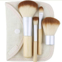 4 Pcs Bamboo Makeup Brush Set