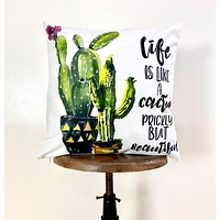 Life is Like A Cactus | Pillow Cover | Good Vibes Only | Cactus Pillow | Positive Vibes | South West