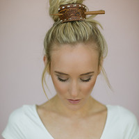 Leather Bun Holder Bohemian Hair Accessories - Upcycled Vintage leather bun holder with Hair Stick