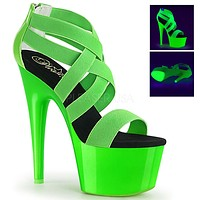 "Adore 769 Neon Green Elastic Cross Strap 7"" High Heel Shoe"