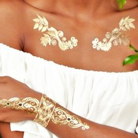 Sheebani Flash Tattoos in gold | SHOWPO Fashion Online Shopping