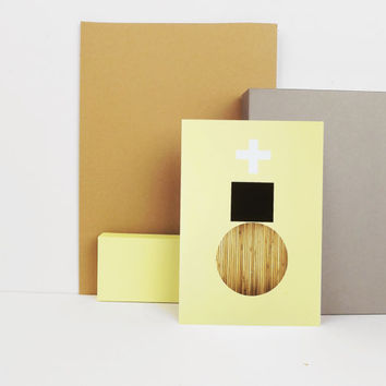 Yellow Print Graphic Textures no 4 - Wood A4 or A5 Archival