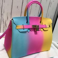 New color portable personalized jelly bag, one shoulder diagonal female big bag