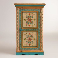 Hand-Painted Floral Cabinet
