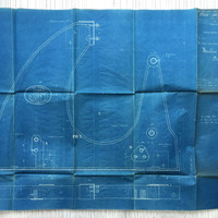 Large French industrial engineering blueprint, circa 1930s. Wonderful dark teal colour. Size: 40 x 27 in, 10015 x 685 mm. Unusual gift.