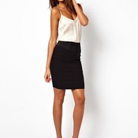 ASOS High Waisted Pencil Skirt with Elastic Sides - Black