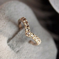 V-Heart Shaped Diamond Ring