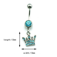 New Charming Dangle Crystal Navel Belly Ring Bling Barbell Button Ring Piercing Body Jewelry = 4804923716