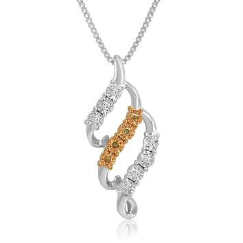 Sterling Silver Champagne and White Diamond Swirl Pendant-Necklace