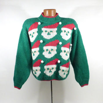 Ugly Christmas Sweater Vintage 1990s  Holiday Tacky Xmas Party Women's size M