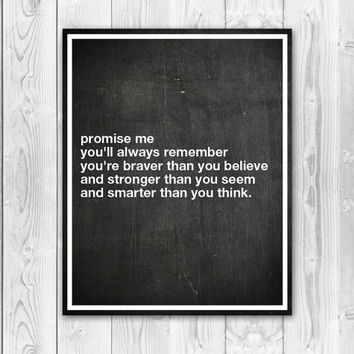 Print You're Braver Than Stronger than Smarter Than Typography Quote Inspirational Chalkboard Art Black White Home Decor Wall Decor