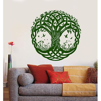 Vinyl Wall Decal Celtic Symbol Tree of Life Nature Butterflies Stickers Unique Gift (1349ig)
