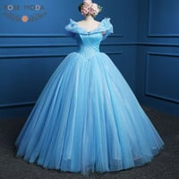 Blue Cinderella Prom Dress Movie Cosplay Costume Ball Gown Party Dresses Real Photo