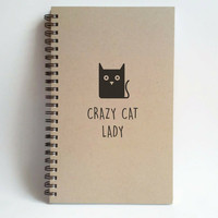 Crazy Cat Lady, 5x8 writing journal, custom spiral notebook, personalized brown kraft memory book, small sketchbook, scrapbook, kitten, cats