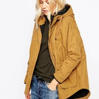 Parka London Petra Hooded Coat In Mustard With Dipped Hem
