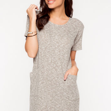 Short Sleeve Front Pockets Ribbed Tee Dress - Olive