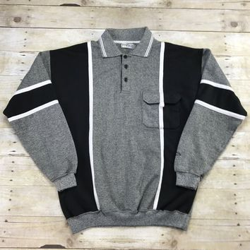 Vintage 90s Penguin Sport Gray / Black Color Block 3-Button Sweater Mens Size Medium