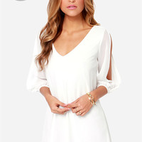 LULUS Exclusive Shifting Dears Ivory Long Sleeve Dress