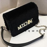 Moschino classic electroplated letters plush chain bag fashion lady shoulder messenger bag