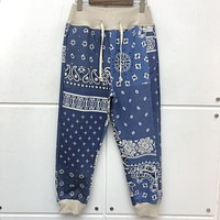 Streetwear KAPITAL MAN Sweatpants High-Quality Joggers Drawstring Pants Heavy Fabric Cashew Flower Printing Trousers