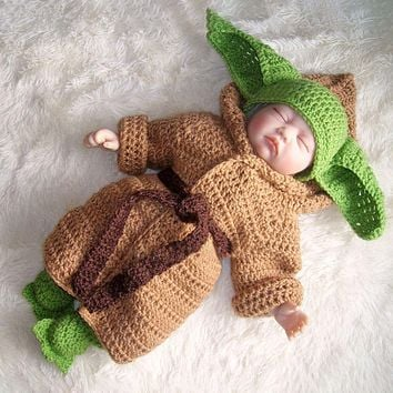 Hot Star Wars Yoda Outfits Crochet Baby Yoda Costume Newborn Baby Yoda Photography Props Knitted Cartoon Clothing