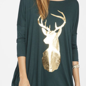 Hunter Green and Gold Deer Top