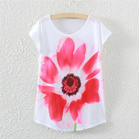 White Short Sleeve Huge Floral Print T-Shirt
