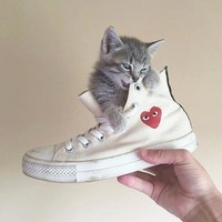 Converse Play Fashion Loving Heart Reflective Sneakers High Top With Low Top Sport Shoes G