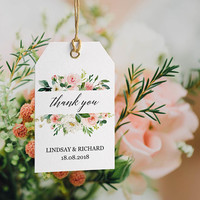 Thank you tags editable template, Printable gift tags PDF, Personalized favor tags for wedding, bridal shower, Cute floral, Instant download