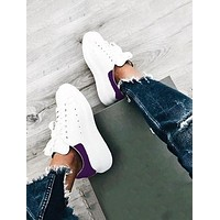 ALEXANDER MCQUEEN Classic Popular Woman Casual Sneakers Sport Shoes(Velvet Tail) Purple