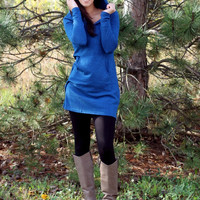 Hooded Dress with Pocket - Royal Blue