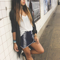 Navy Skies Embroidered Pointed Skort