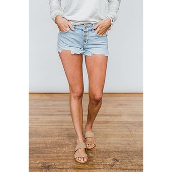 KanCan Button Fly Shorts- Jordyn Wash