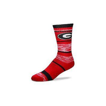 NCAA Georgia Bulldogs Logo RMC Stripe Mens Large Crew Cut Socks
